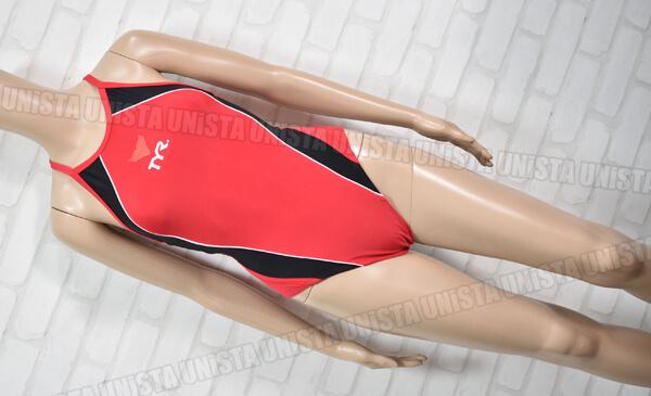 TYR ティア XOバック型ワンピース水着・女子競泳水着 ライフセービング水着 レッド