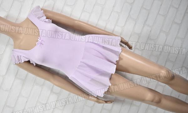 ange. アンジュ 女子バレエ・ダンス スカート一体型 半袖レオタード 薄紫