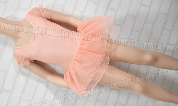 Chacott KIDS チャコットキッズ NO.6543-19022 パフスリーブ スカート一体型 半袖レオタード オレンジ