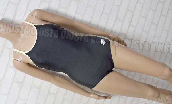ARENA アリーナ ARN-75W 白パイピングワンピース水着・女子競泳水着 ブラック
