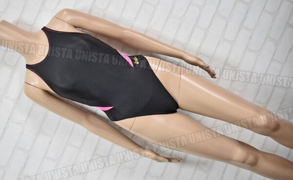 ASICS アシックス ALS114 HYDRO MESH ハイドロメッシュ 女子競泳水着 ブラック・ピンク