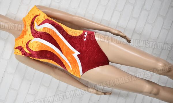 ChristianMOREAU クリスチャンモロー 女子体操競技 ノースリーブレオタード ベロア地 オレンジ・エンジ