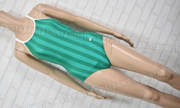 GALAX ギャレックス 白パイピング ワンピース水着・女子競泳水着 ストライプ柄 グリーン