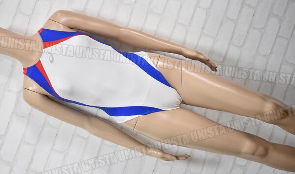 ASICS アシックス ALS86T HYDRO CD ハイドロCD スパイラルカット ハイカット 女子競泳水着 ホワイト・ブルー