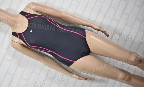 NIKE ナイキ NO.1981302 レーサーバック型 ワンピース水着 女子競泳水着 ブラック・ピンク