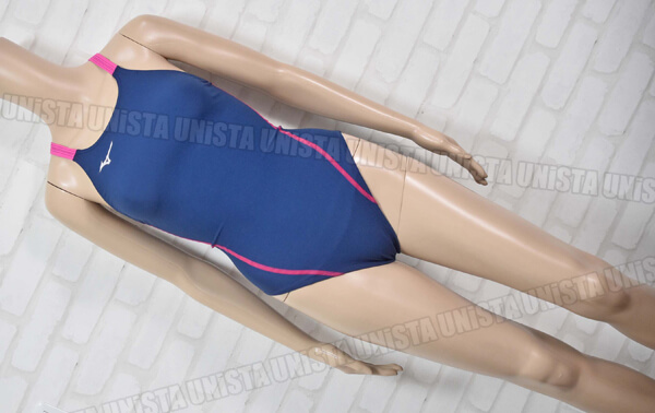 MIZUNO ミズノ N2MA826187 EXERSUITS エクサースーツ ミディアムカット 女子競泳水着 ネイビー・ローズ