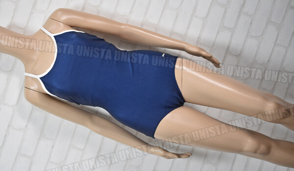 Sprinter スプリンター NO.290 白パイピングワンピース水着 女子競泳水着 ネイビー