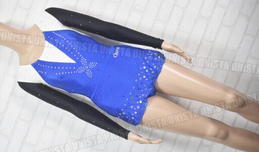 Chacott チャコット 女子新体操競技 ロングスリーブレオタード ブルー・ブラック