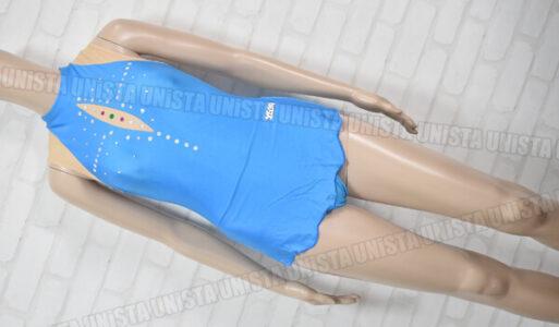 SASAKI ササキスポーツ 女子体操競技 ノースリーブスカートレオタード ライトブルー・ベージュ