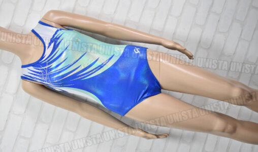 GK 女子体操競技 ノースリーブレオタード ブルー ライムグリーン