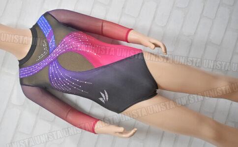 echter イクター 女子体操競技 ロングスリーブレオタード 2wayトリコット・メッシュ レッドグラデーション・パープル