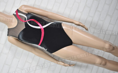 milano ミラノ 女子体操競技 ノースリーブレオタード ベロア切替 ブラック・シルバー