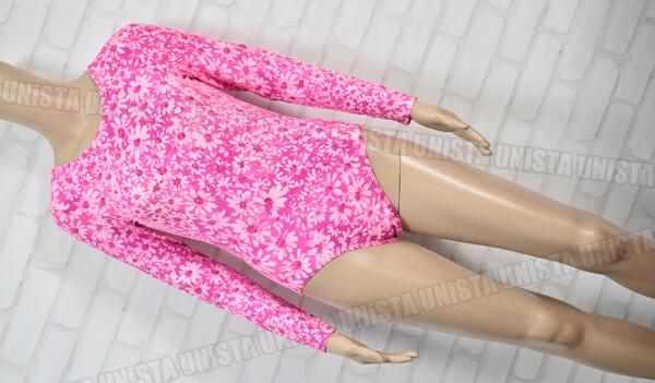 GK 女子体操競技 ロングスリーブレオタード コットン素材 レオタード 花柄 ピンク