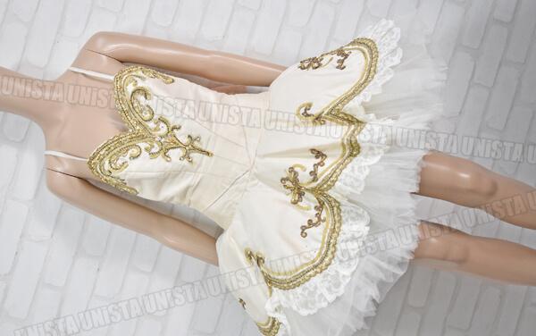 アトリエミツコ バレエ衣裳 バレエチュチュ オーダーメイド品 金平糖 ホワイト・ゴールド1