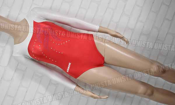 AIRMOVE エアムーブ 女子体操競技 ロングスリーブレオタード レッド・ホワイト