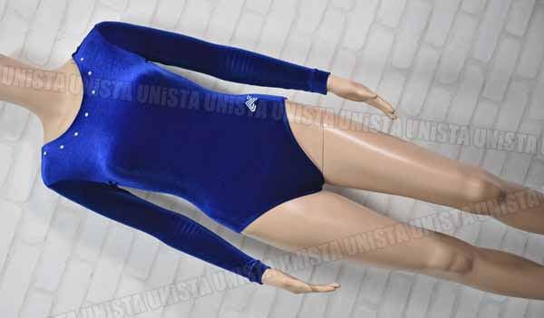 ALPHA FACTOR アルファファクター 女子体操競技 ロングスリーブレオタード ベロア地 ネイビー
