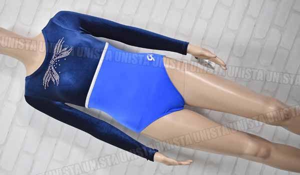 GK from ELITE SPORTSWEAR 女子体操競技 ロングスリーブレオタード 切替ベロア ブルー・ネイビー