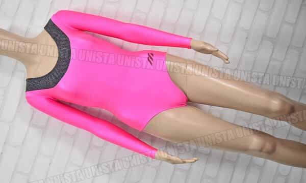 MIZUNO ミズノ 女子体操競技 ロングスリーブレオタード 蛍光ピンク