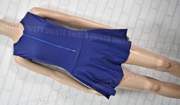 NON クロッチオープン型 スカート一体型ワンピース水着 フロントダブルジッパー水着 ネイビー