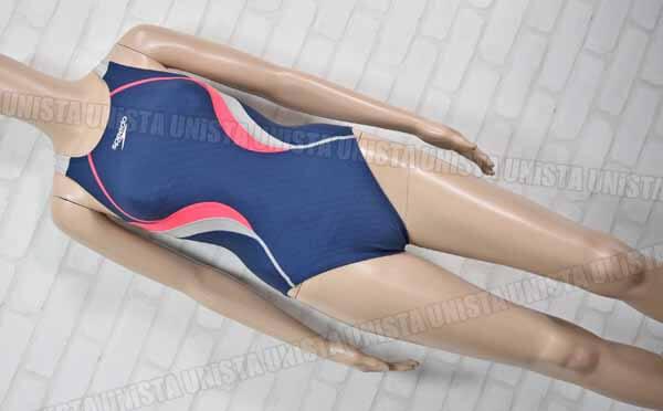 SPEEDO スピード SD57Y21 FLEX-CUBE フレックスキューブ ミドルカット 女子競泳水着 ネイビー・グレー
