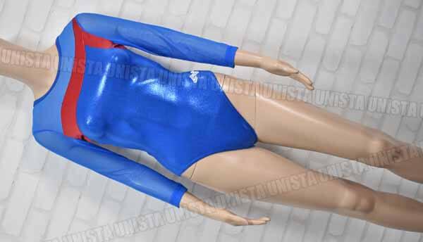 ALPHA FACTOR アルファファクター OL8249 女子体操競技 7分袖レオタード ブルー・レッド