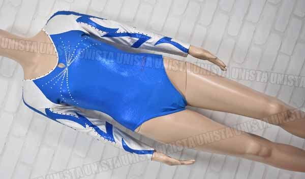 Christian MOREAU クリスチャンモロー 女子体操競技 ロングスリーブレオタード ブルー・ホワイト