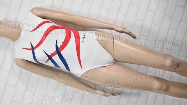 Christian MOREAU クリスチャンモロー 女子体操競技 ノースリーブレオタード ホワイト・レッド
