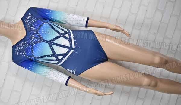 milano ミラノ 女子体操競技 7分袖レオタード ブルーグラデーション