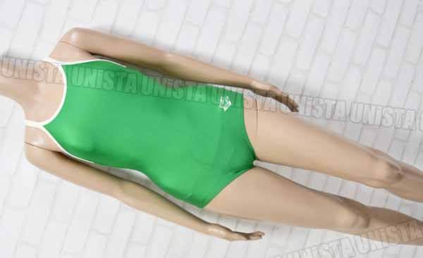 ARENA アリーナ ARN-75W 白パイピングワンピース水着・女子競泳水着 グリーン