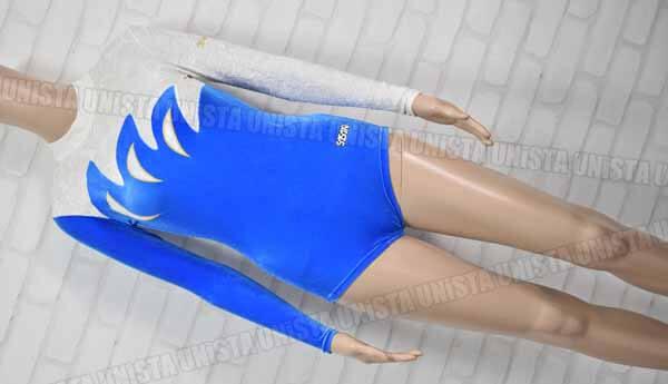 SASAKI ササキスポーツ NO.7000 女子体操競技 ロングスリーブレオタード ブルー・ホワイト