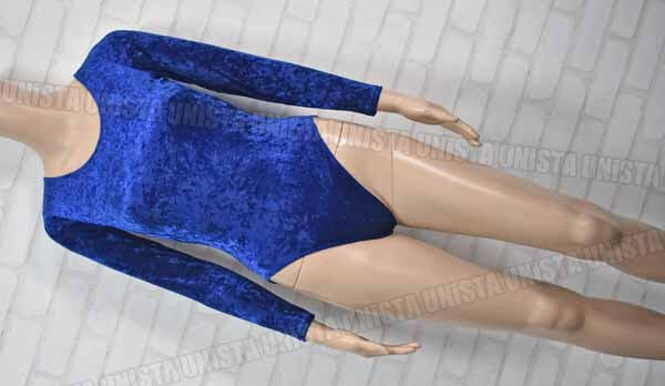 GILDAMARX ギルダマルクス 女子体操競技 ロングスリーブレオタード ベロア ブルー