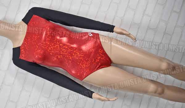 GK ELITE 女子体操競技 ロングスリーブレオタード レッド ブラック