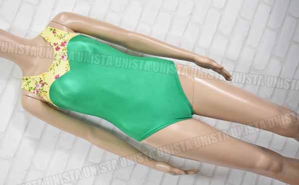 コージ・プランニング 女子体操競技 ノースリーブレオタード グリーン イエロー