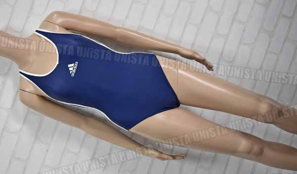 adidas アディダス AGF001 ナイロン製 レーサーバック型 白パイピングワンピース水着 女子競泳水着 ネイビー